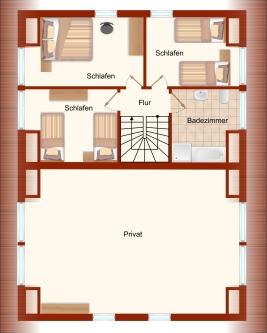 Grundriss (Obergeschoss) – Ferienhaus Boddenblick