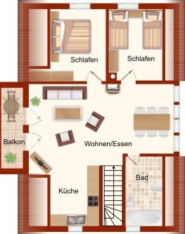 Grundriss (Obergeschoss) – Ferienwohnung Arkonablick (OG)